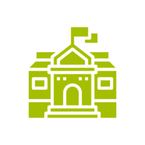 a graphic representing a college building
