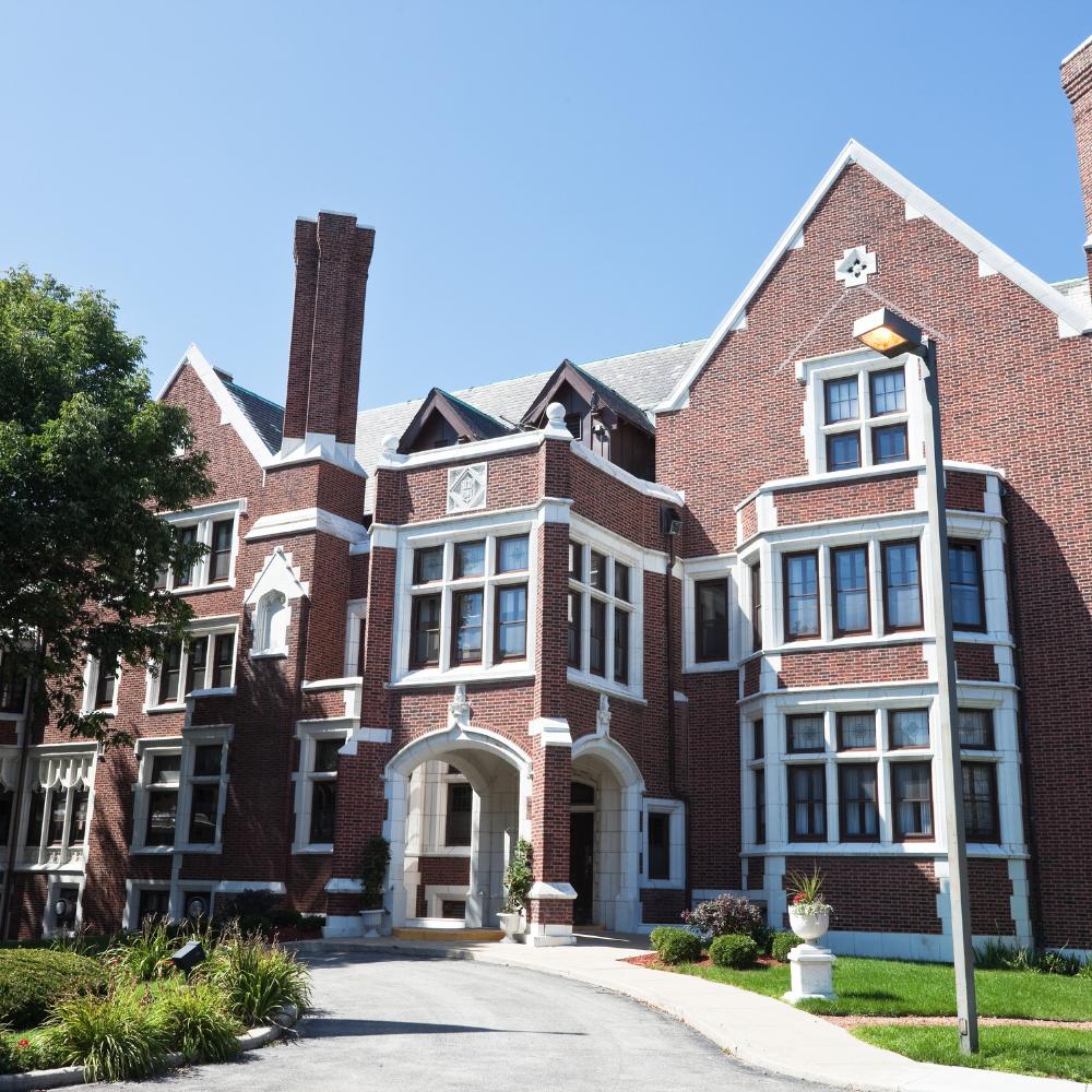 Brick exterior of a college campus