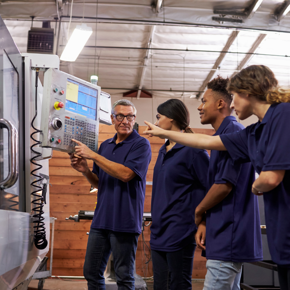 Apprentice students in a technical class